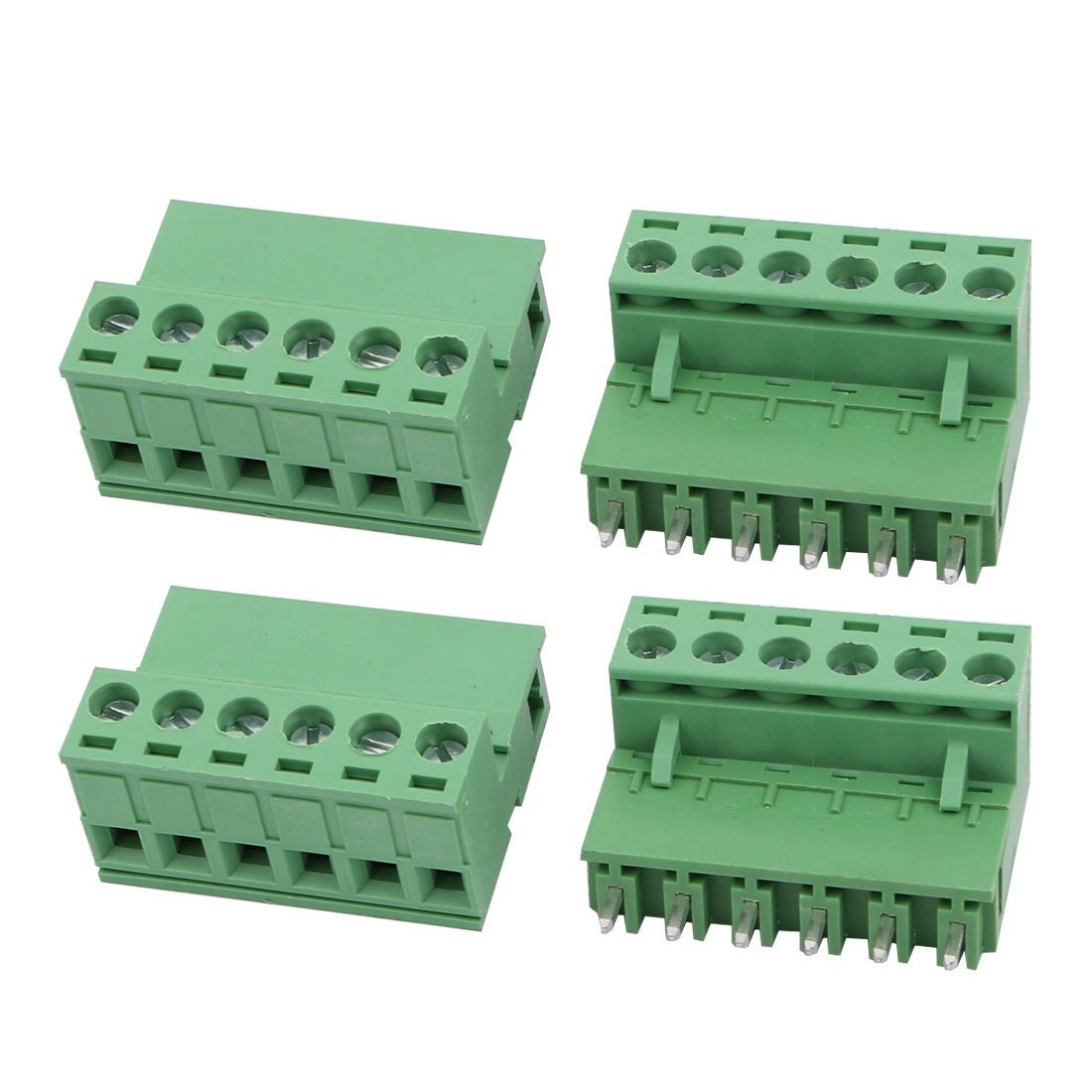 uxcell 4Sets AC 300V 10A 5.08mm Pitch 6P PCB Terminal Block Female Male Wire Connector