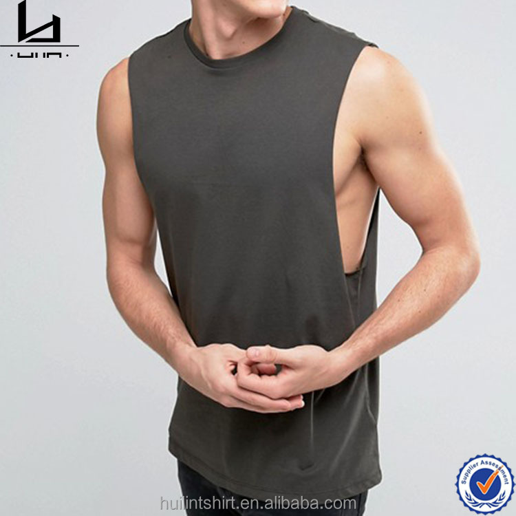 new style summer drop armholes men's sleeveless t shirts in bulk