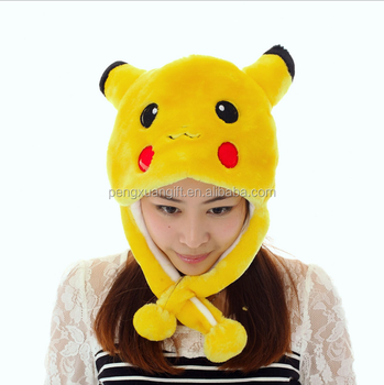 2016 New winter hat cartoon character Pikachu cap ear protector plush  beanies with long Scarf and f074fdb76be8