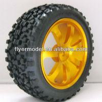 RC Aluminum Wheel Rubber Tires Sponge Rim HSP HPI 1:10 On Road Car