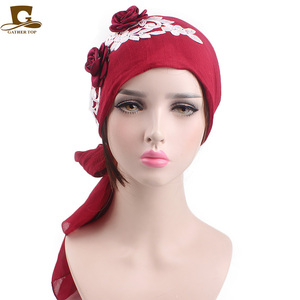 Cotton Head wrap turban cap 3D flower lace HeadScarf Chemo Cancer cap