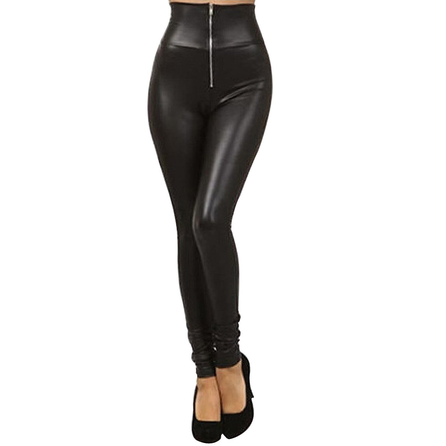 30ec5fccbd718e Get Quotations · Tulucky Sexy Womens Front Zipper Pants Faux Leather High  Waisted Leggings
