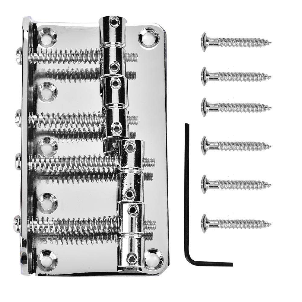 4 String Vintage Style Bass Bridge for 4-String Electric Bass Guitar 3 Colors to choose(Silver)