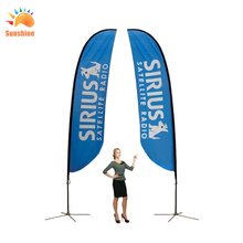 Hot selling with the free designdoubel side printing fiberglass pole teardrop flags telescopic flag pole
