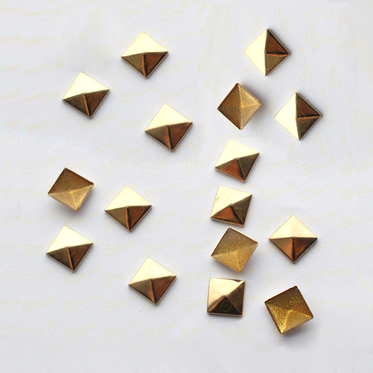 0416W 6*6mm pyramid studs hot fix antique brass studs gold square pyramid studs iron on