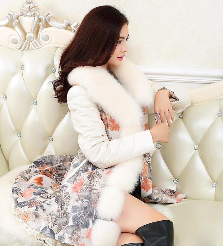 2015 новое поступление женщин зимой кожа пуховик больших размеров очень стильный напечатаны овец пальто женщин зима парки