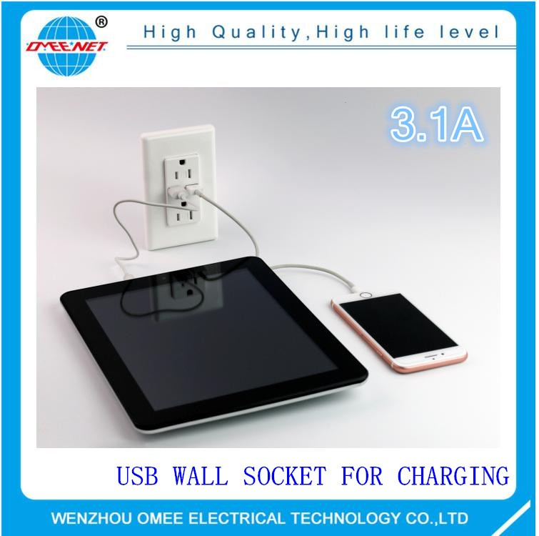 Max 3.1A 15 amp electrical socket usb 220v wall outlet for iphone and ipad charge