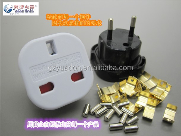 Safe Guangzhou Yuadon produce white and black color 250V UK to Eu conversion plug