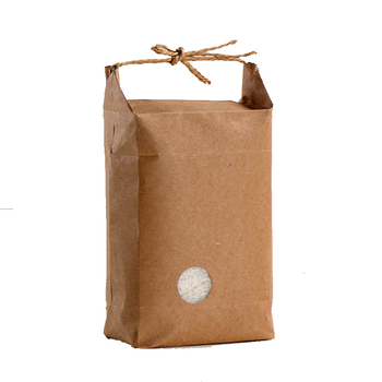 china supplier kraft 5kgs rice packaging paper bags with handle