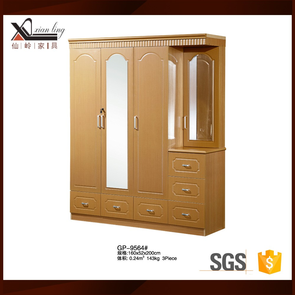 3 Door Clothes Wooden Almirah Designs With Mirror 60542430200 on Kerala Wooden Furniture