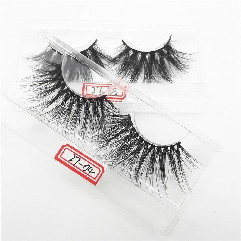 Hot Selling 3D 5D Mink Eyelashes Custom False Eyelashes 27mm Private Label Lashes, Black