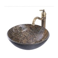 table top glass wash basin/glass basin temper and faucet used in bathroom