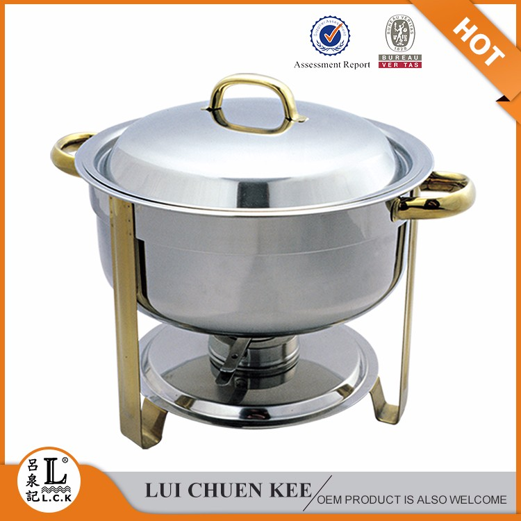 Stainless Steel Buffet Ware Gel Fuel round chaffing dish