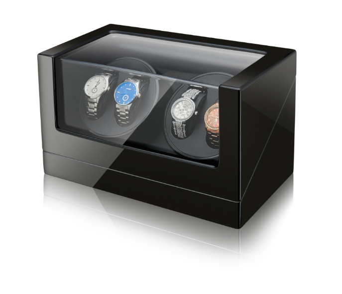 Black Leather Watch Winder Storage Auto Display Case Box 4+0 Automatic Rotation, Customized