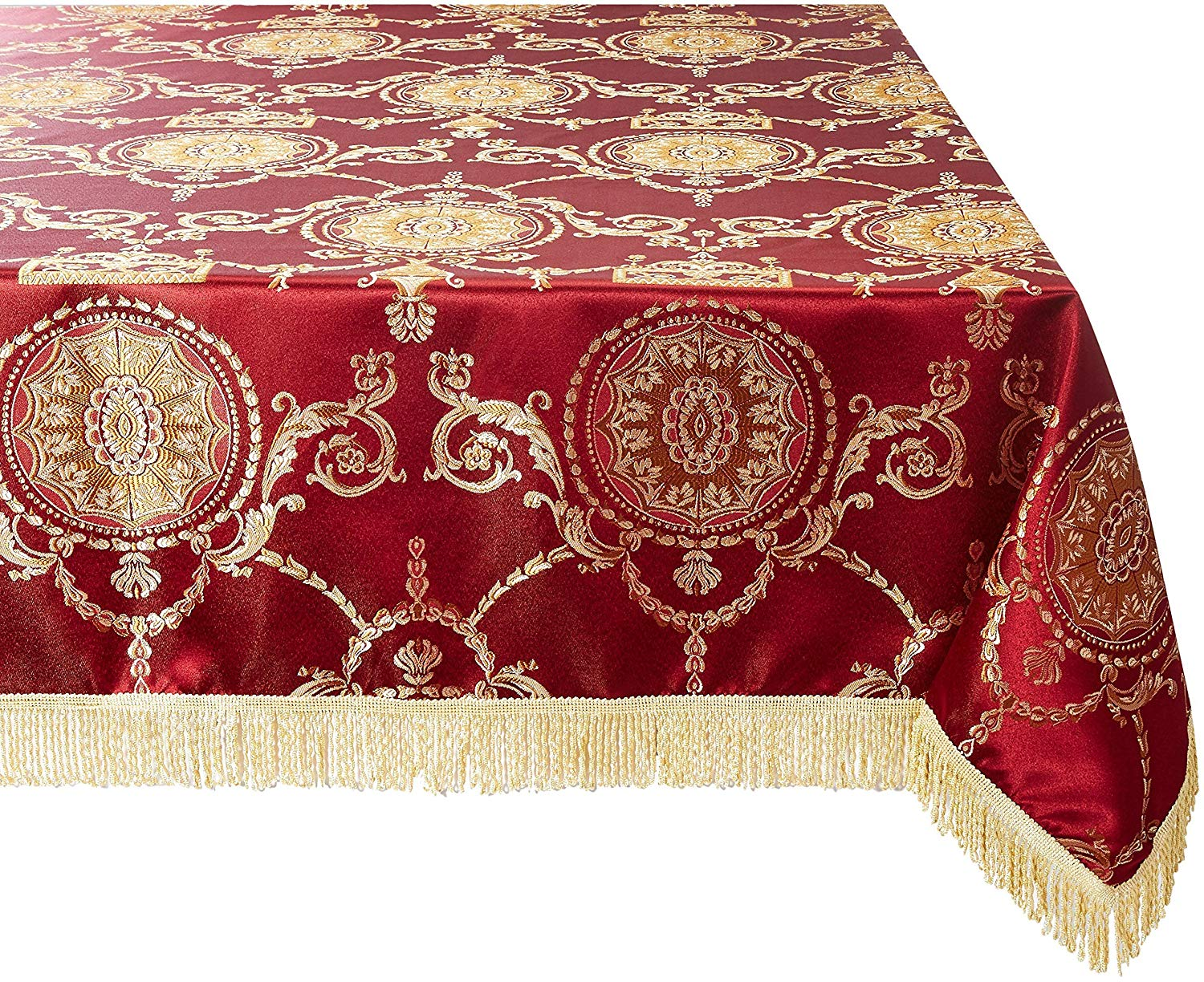 "Violet Linen Prestige Damask Design Oblong/Rectangle Tablecloth, 60"" x 84"", Burgundy"