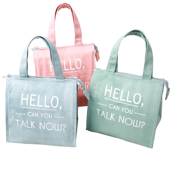 Thermal Food Delivery Carry Tote Insulated Cotton Pink Canvas Cooler Bag Cotton Lunch Bag