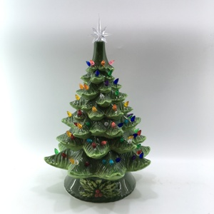 18in Pre Lit Hand Painted Ceramic Tabletop Christmas Tree W Lights
