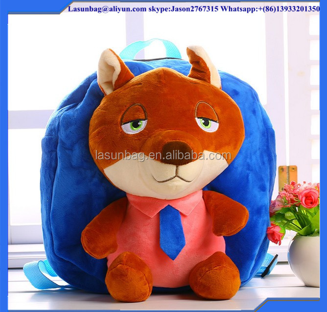 2016 Zoo Topia Judy Nick Backpack The Rabbit and the Fox Plush Toys Bacpack for Kids