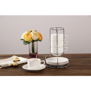 Modern stackable 8 pcs simple coffee cup and saucer rack