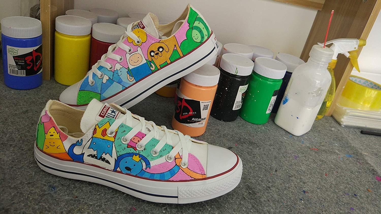 469e86c287 Get Quotations · Custom Shoes Adventure Time Anime Shoes Black Canvas  Sneakers Shoes Men Women Shoes Hand Painted Shoes