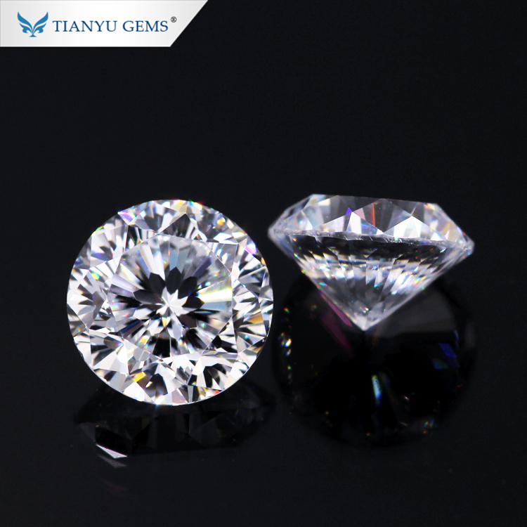 Tianyu wholesale moissanite loose gemstone 5mm round cut DEF color clean synthetic diamond