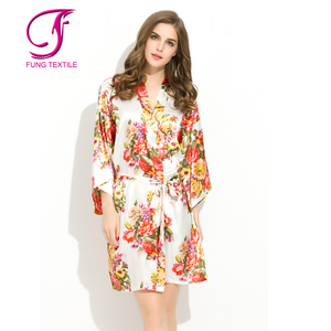 FUNG 3002 Stock Available Wedding Satin Floral Robes For Bridal Parties