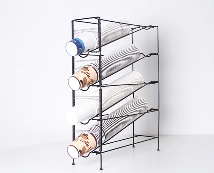 Coffee Cup Holder Disposable Beverage Paper Display Rack Metal
