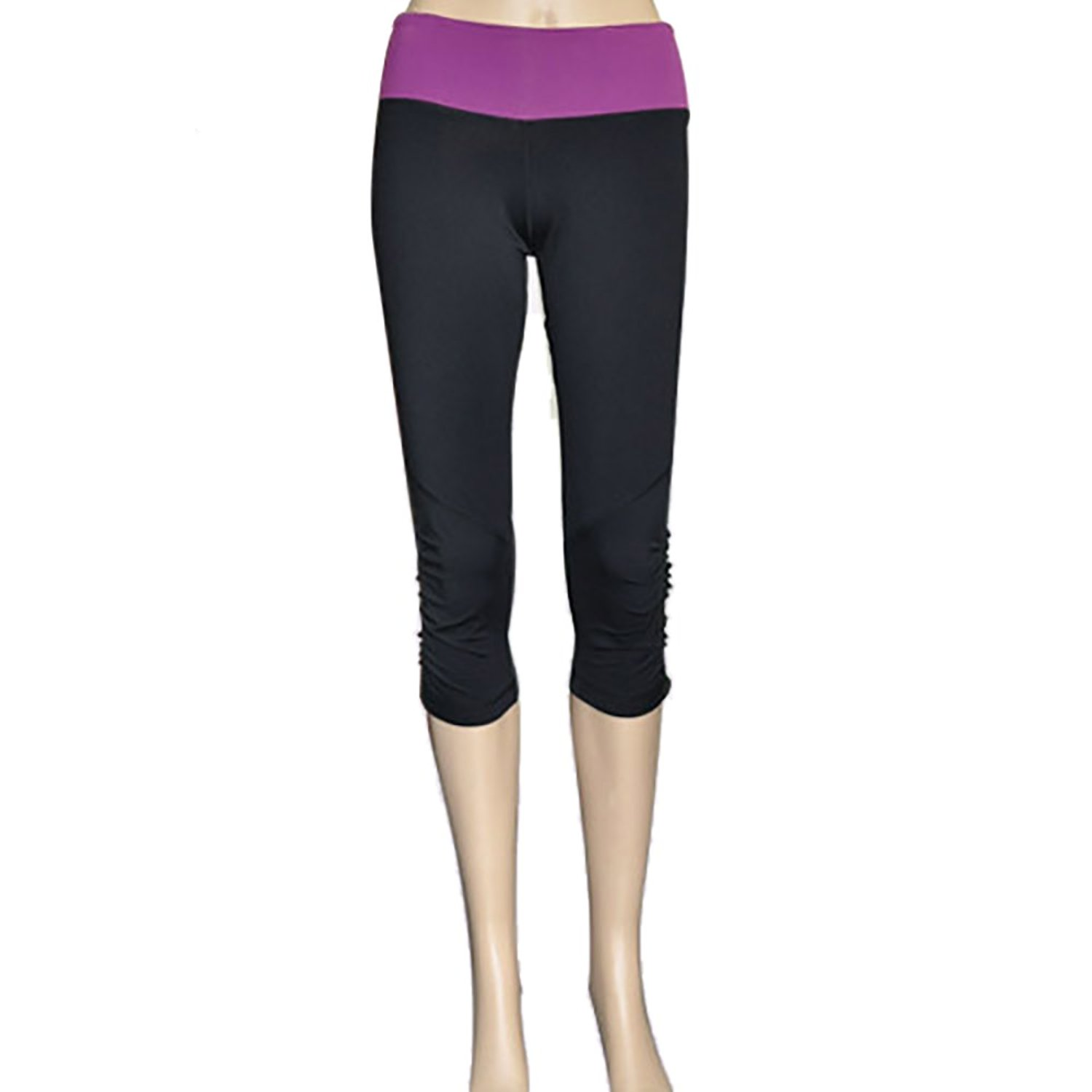 19e37e6d47f Get Quotations · Yoyoga Women s back zipper pocket cropped yoga pants wth  ruffle bottom