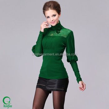 Long Sleeve Turtleneck T Shirts Wholesale Women Tops