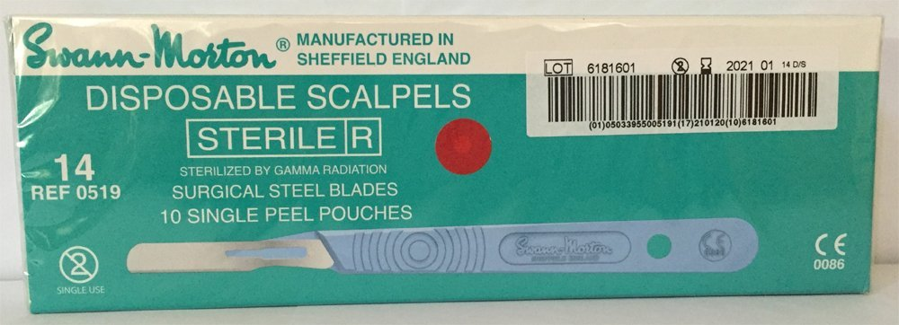 Swann-Morton® #14 Sterile Disposable Scalpels with Blade [individually packed, box of 10]