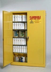 "Eagle YPI-30 Paint/Ink Safety Cabinet, Sliding Self Close, 44"" Height, 43"" Width, 18"" Length, 40 gal, Yellow"