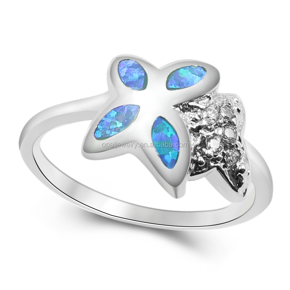 Wholesale NEW! FLOWER SHAPE BLUE FIRE AUSTRALIAN OPAL 925 SILVER ...