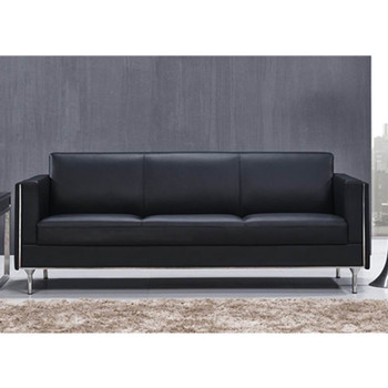 Black Pu Leather Office Two Seat Sofa