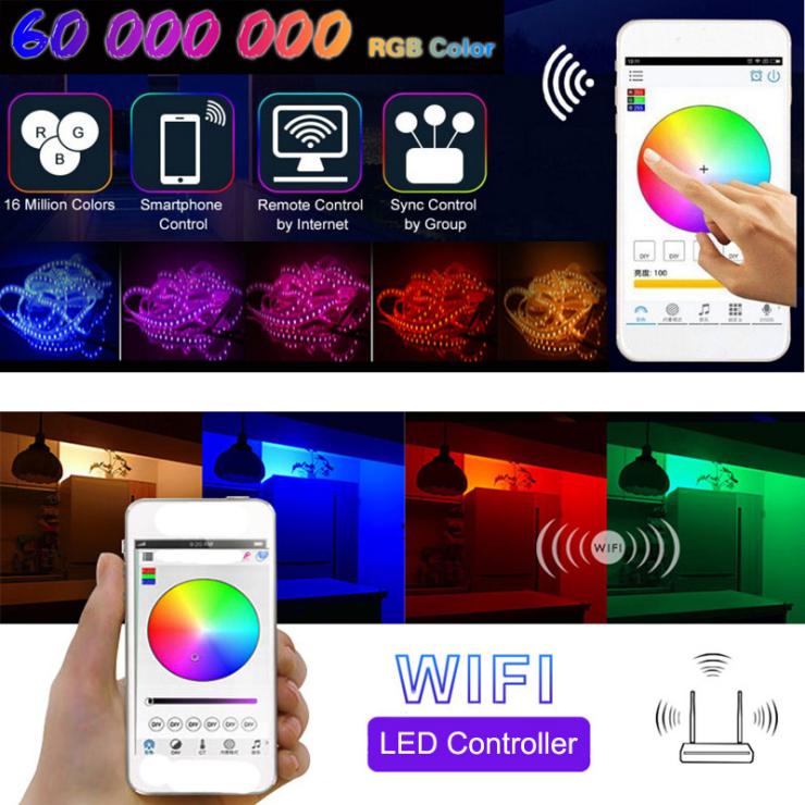 Wifi Wireless Smart Phone kontrollierte LED-Lichtstreifen-Kit 150 Leds 5050 Wasserdichtes LED-Streifenlicht