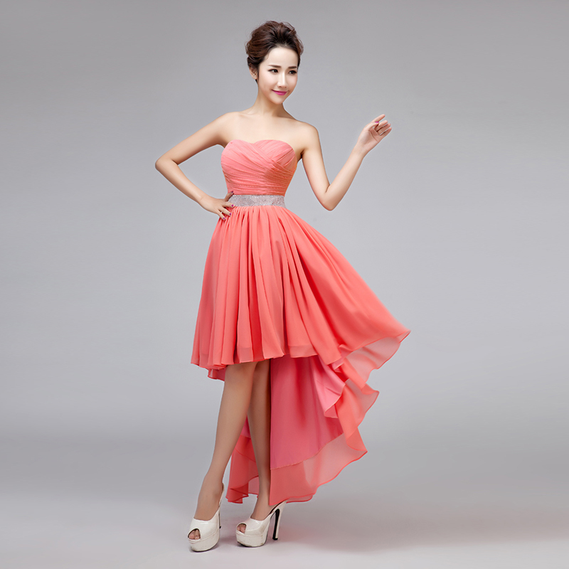Sweetheart Strapless High/Low Coral Colored Bridesmaid