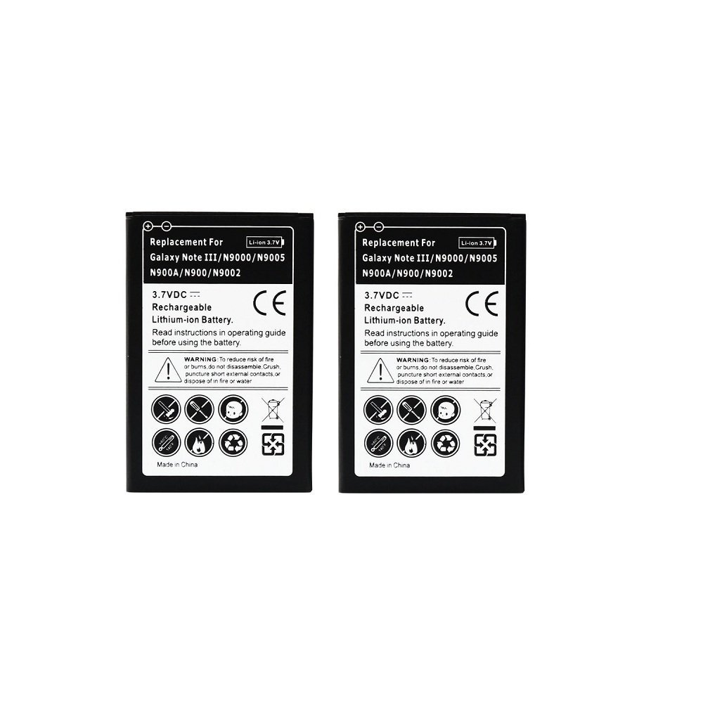 Hausbel 3.7v 3200mAh Li-ion Rechargeable Replacement Battery for Samsung Galaxy Note 3 N9000 / N900 (Pack of 2 - Non-Retail Packaging) (Galaxy Note 3)