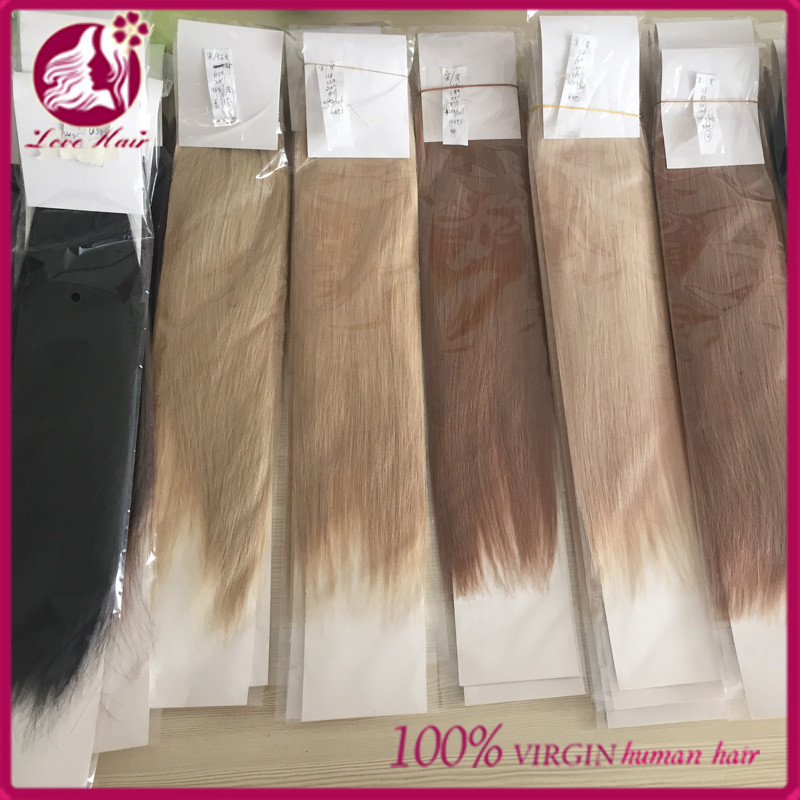 Double Drawn Virgin Brazilian Hair Ombre Color Skin Weft Tape Hair