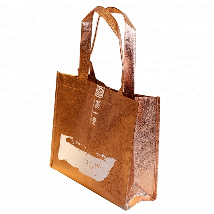 Customized Professional Metallic Polyester Non Woven Shopping Bag
