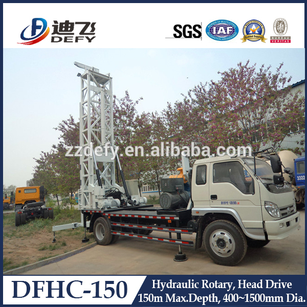 Widely Used Truck-mounted Water Well Drilling Machine DFHC-150 with Mud Pump