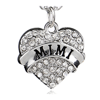 Heart Shape Engraved Name of Family Member Christmas Gift Present Diamond Love Keychain