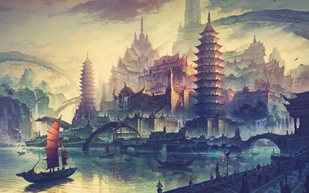 artwork boat <font><b>Asian</b></font> architecture lake boat <font><b>Home</b></font> <font><b>Decoration</b></font> Canvas Poster