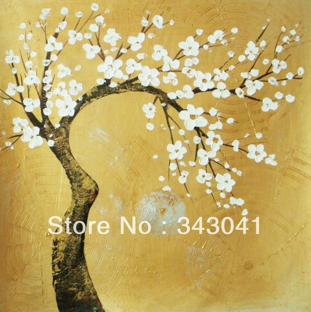 Free shipping, <font><b>Asian</b></font> hand-painted wall art, <font><b>home</b></font> <font><b>decoration</b></font>, canvas painting gold tree x20 20 inches (50 x50cm)