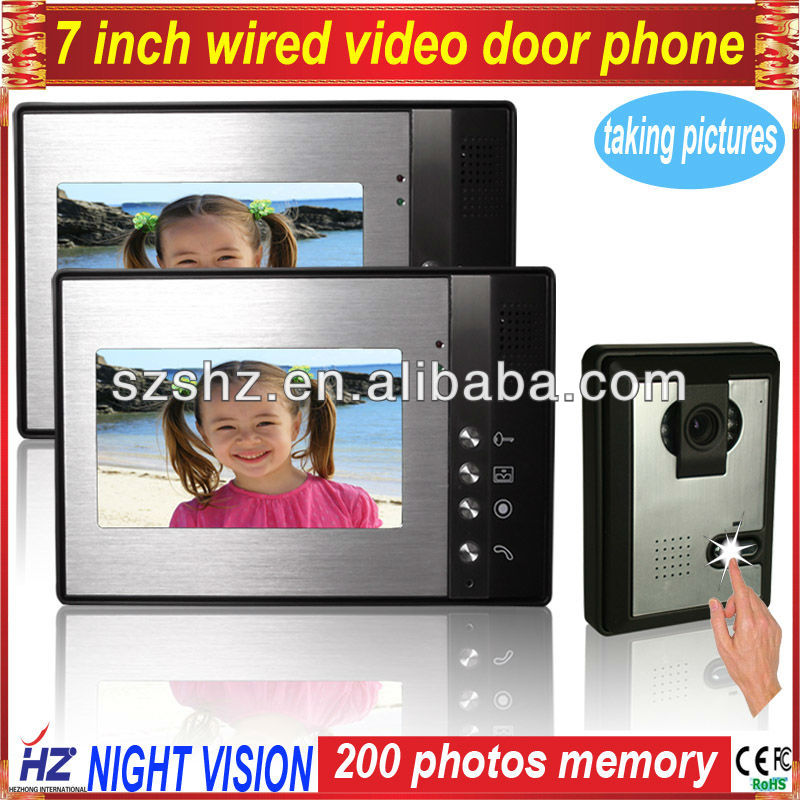 door lock electronic 7'' colour indoor phone with function of taking pictures,CMOS camera