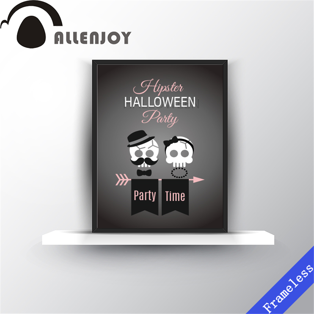 Hipster Halloween Skull couple wall art print canvas decorative picture poster oil paintings for living room home decor Unframed