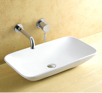 White bathroom ceramic basins luxury square wash sink