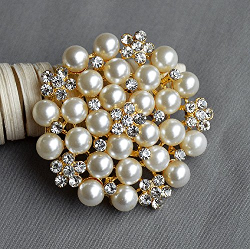 87cc254d5 Get Quotations · Rhinestone Brooch Crystal Pearl Brooch Gold for Wedding  Brooch Bouquet Cake Decoration Hair Comb Shoe Clip
