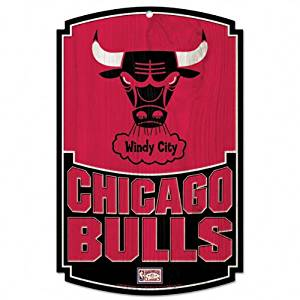 NBA Chicago Bulls 11-By-17-Inch Traditional Look Wood Sign