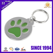 Dog footprint id name tag pendant paw shaped round dog tag