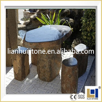 Natural basalt stone hand carving garden tables and chairs by customized design
