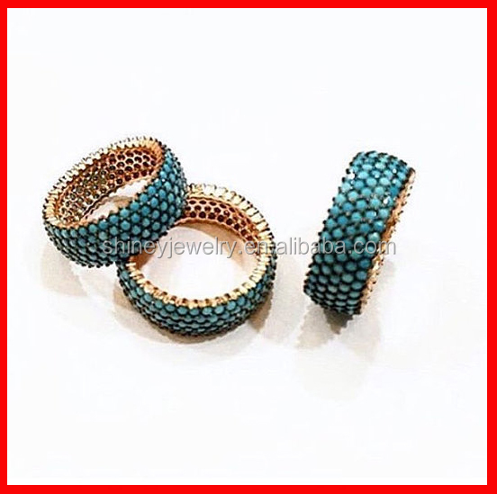 fashion 925 sterling silver pave turquoise women men wedding band ring